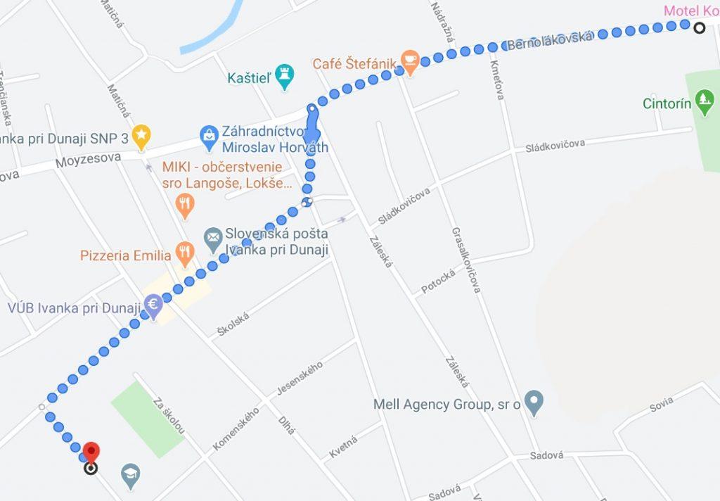 Mapa cesty do školy